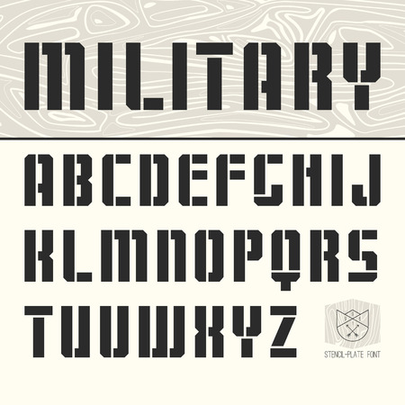 sans serif: Stencil-plate sans serif font in military style Illustration