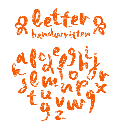 Vector handwritten brush script with shabby texture. Orange letters isolated on white background