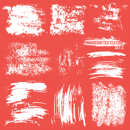 Expressive handcrafted texture set smears and fingerprints. White to red background