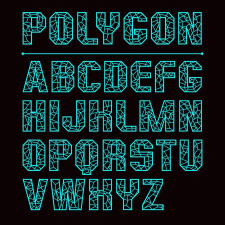 Low polygon sans serif font. Color print on a black background