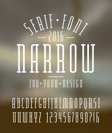 narrow: Narrow serif font and numbers. Medium face. White font on blurred background Illustration