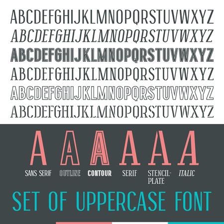 Set of uppercase narrow font. Medium face Vektoros illusztráció