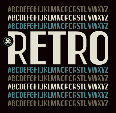 serif: Sans serif font in retro style. Bold face. Color font on black background