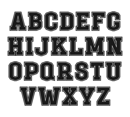 Slab-serif font with contour in the style of college. Black font on light background