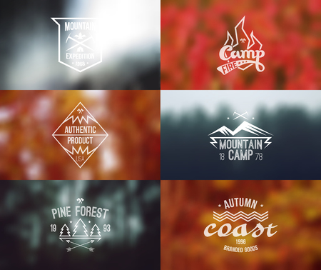 alpinism: Trendy retro vintage badges and card with blurred backgrounds. Autumn colors, camping theme.