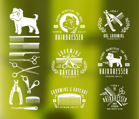 Hairdresser for dog. Badges and design elements. White print on blurred background