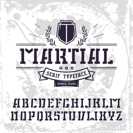 warlike: Stencil-plate serif font in military style. Black font on light texture background