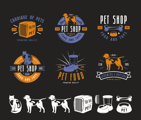 Set of pet care labels, badges and design elements. Color print on black background