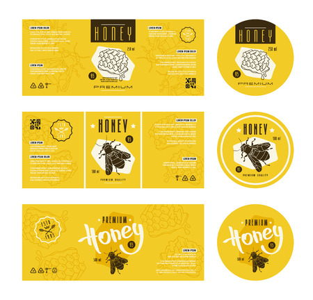 Set of templates label for honey. With hand-drawn graphic  Vectores