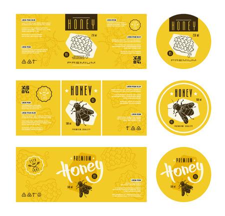 Zestaw etykiet Szablon dla miodu. Z ręcznie rysowane grafiki