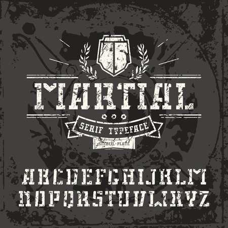 warlike: Stencil-plate serif font in military style with shabby texture. White font on black texture background