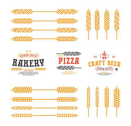 ear of wheat: Set of stylized ear wheat. Template labels for bakery, pizza, beer. Color print on white background