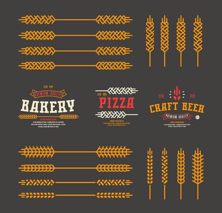 ear of wheat: Set of stylized ear wheat. Template labels for bakery, pizza, beer. Color print on black background