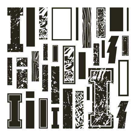 rectangulo: Establecer versiones de letras I en una variedad de estilos. de color negro sobre un fondo blanco