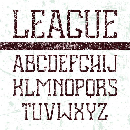 Serif font medium in the style of college with shabby texture. Black font on light background