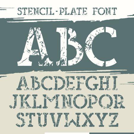Slab serif stencil-plate font with old metal texture. Print on brushstrokes background. Illusztráció