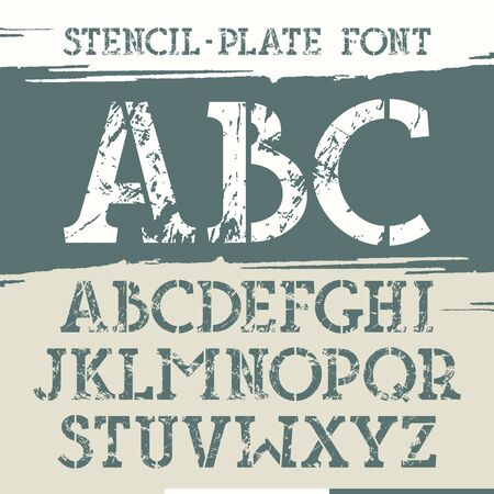 Slab serif stencil-plate font with old metal texture. Print on brushstrokes background. Illustration