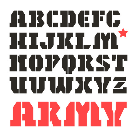 warlike: Stencil-plate serif font in military style. Black font on white background