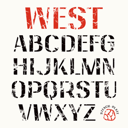 warlike: Uppercase stencil-plate sans serif font. Bold face. Color print on white background