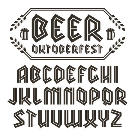 alphabet beer: Sans serif decorative font in gothic style. To Oktoberfest theme. Black font on white background