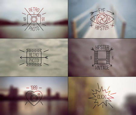 the nineties: Trendy hipster badges in thin line style and retro blurred backgrounds