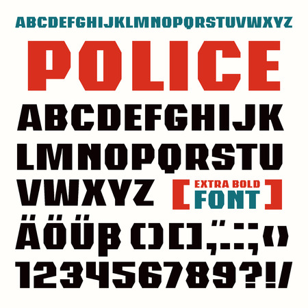 extra: Sans serif font in military style. Extra bold face