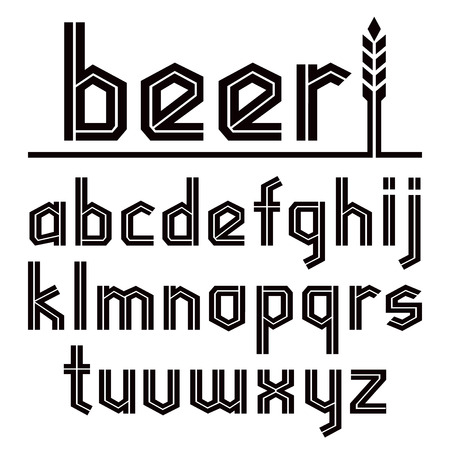 lower case: Sans serif decorative font in gothic style. To Oktoberfest theme. Black font on white background. Lower case. Illustration