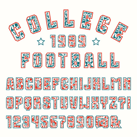 athletic type: Sanserif font covered letterings with contour. Bold face Illustration