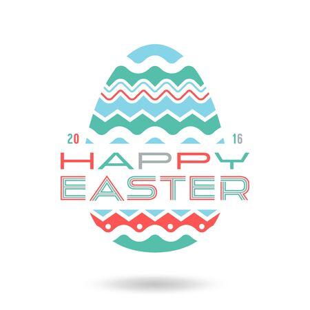 ostern: Happy easter egg emblem. Color print on white background