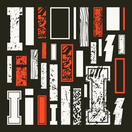 rectangulo: Establecer versiones de letras I en una variedad de estilos. Impresión a color en fondo negro