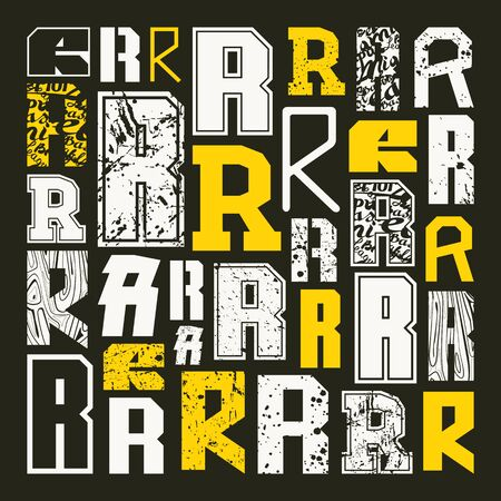 Set Versions Of Letters R In A Variety Styles Color Print On Black Background Stock