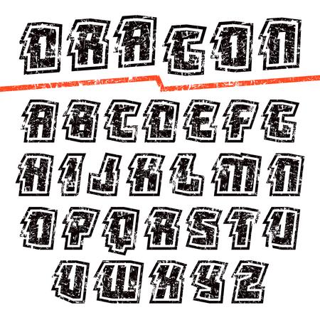 ぼろぼろのテクスチャでオリエンタル スタイルで装飾的なサンセリフ フォントです。白い背景に分離  イラスト・ベクター素材