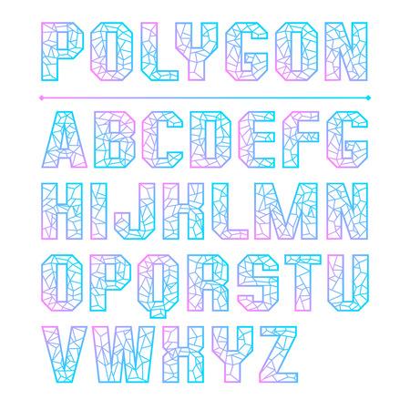 Low polygon sans serif font colored gradient. Color print on a white background