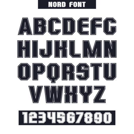 monumental: Sans serif font and numeral with the contours. Black font on white background Illustration