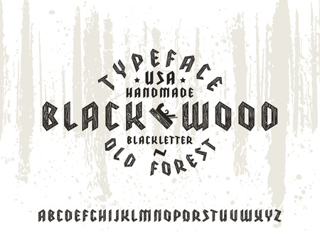 ligneous: Sanserif font in black letter style decorated wood texture. Gothic typeface on forest texture background Illustration