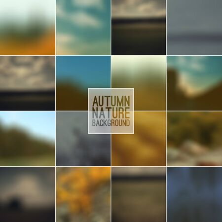 pictorial art: Set of blurred backgrounds. Autumn color Illustration