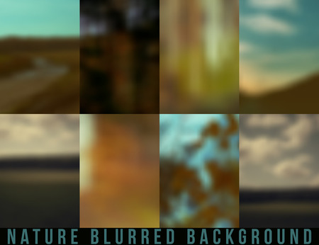 Set of blurred backgrounds nature. Autumn and summer color Illustration