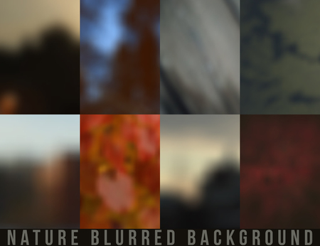 pictorial art: Set of blurred backgrounds nature. Autumn and summer color Illustration
