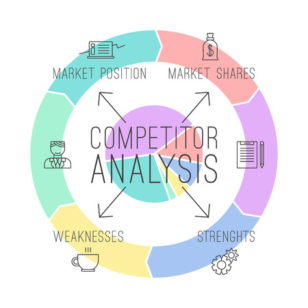 Competitor analysis  infographics in thin line style. Print on white background