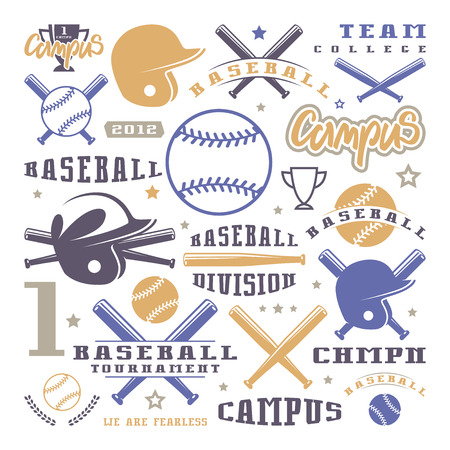 deportes colectivos: Icons and badges set of baseball team. Graphic design for t-shirt. Color print on white background