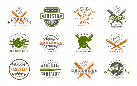 team sports: Badges set of baseball team. Graphic design for t-shirt. Color print on white background