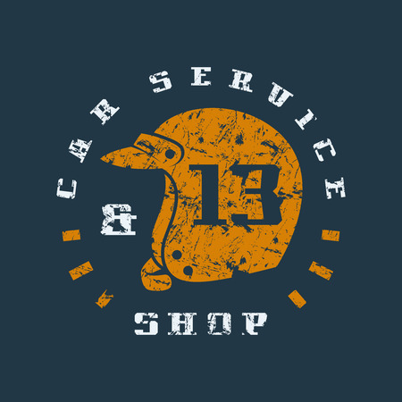 pit: Car service badge with shabby texture. Graphic design for t-shirt. Color print on black Illustration