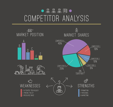 competitor: Competitor infographics in thin line style. Print on black Illustration