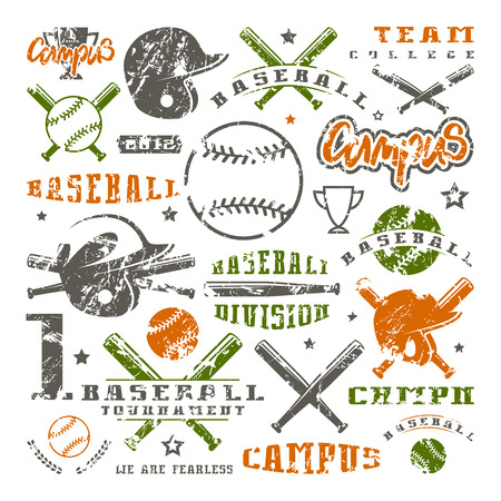 Icons and badges set of baseball team. Graphic design for t-shirt. Color print on white background