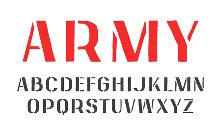 warlike: Stencil-plate sanserif font in the style of handmade graphics. Isolated on white background Illustration