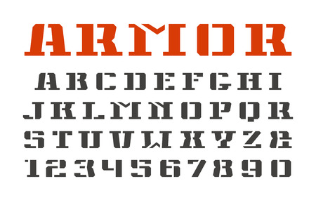 warlike: Stencil-plate serif font and numerals in military style. Isolated on white background