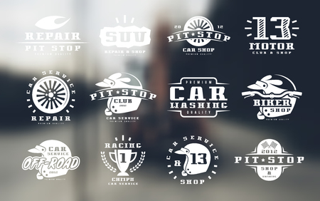 Car races and service badges. Graphic design for t-shirt. Print on blurred background