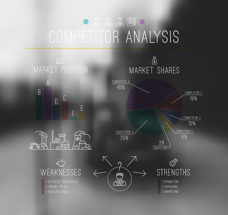 competitor: Competitor analysis  infographics in thin line style. Print on blurred background Illustration
