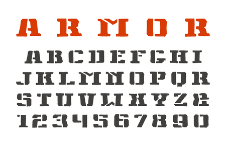 warlike: Stencil-plate serif font and numerals in the style of hand-drawn graphics. Isolated on white background