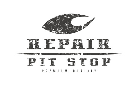 Car repair badge with shabby texture. Graphic design for t-shirt. Black print on white background Illustration